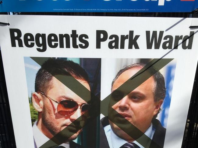 Signs around the Regents Park ward of Cumberland Council urged Chinese-speaking voters not to vote for Ned Attie because of his links to Salim Mehajer.