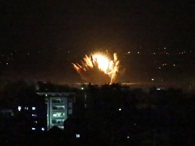 An explosion follows an Israeli strike in Gaza City. Picture: AFP PHOTO/Thomas Coex