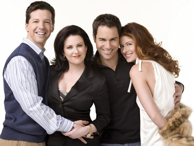 Big break ... (l-r) Sean Hayes as Jack McFarland, Megan Mullally as Karen Walker, Eric McCormack as Will Truman, Debra Messing as Grace Adler in Will and Grace. Picture: George Lange