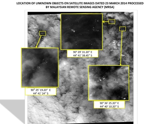 Treacherous serach...A graphic released by the Malaysian Remote Sensing Agency shows satellite imagery of objects seen floating in the southern Indian Ocean. Picture:AP/Malaysian Remote Sensing Agency)