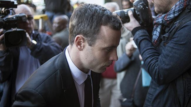 Fatal shooting ... Oscar Pistorius arrives at court in Pretoria for his murder trial.