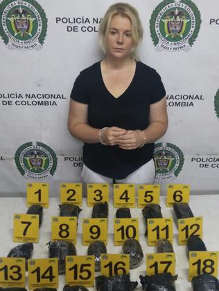 She was found with 5.8kg of cocaine. Picture: Colombian Police/AP