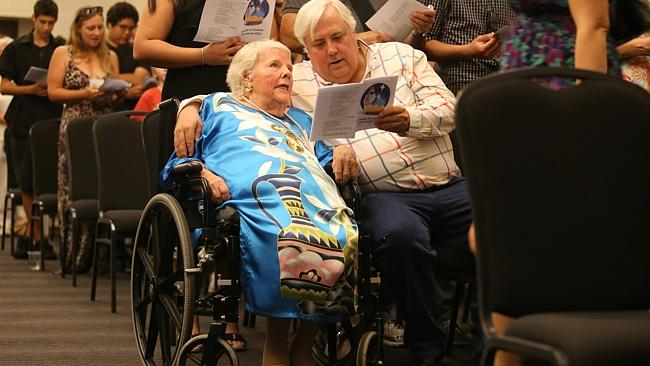 Incredible lady ... Clive Palmer singing with mum Nancy at a Christmas service and lunch