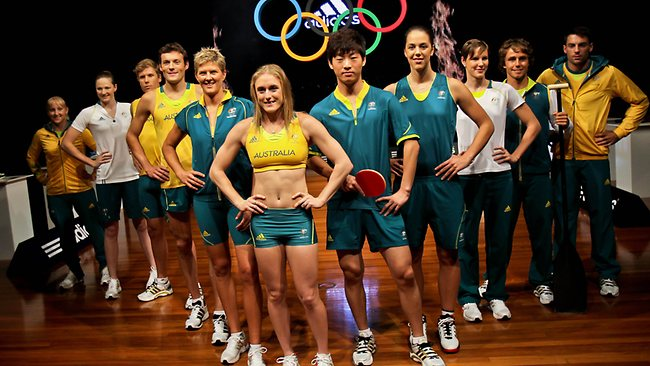 Australian Olympic athletes pose during the unveiling of the Australian Olympic team uniforms at Sydney Olympic Park. Picture: AFP
