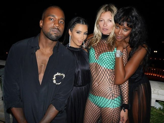 "Kanye West, Kim Kardashian, Kate Moss and Naomi Campbell: ""You can't sit with us"" Picture: Instagram"