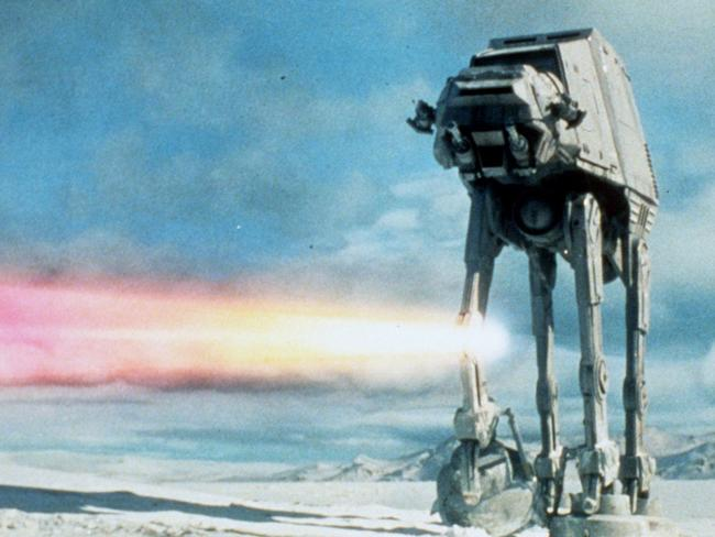 Imperial AT-AT walker in a scene from Star Wars: The Empire Strikes Back.