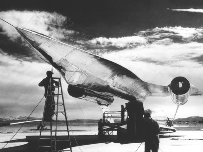 The titanium A-12 spy plane prototype is mounted onto a pylon for radar cross section tests at Area 51 in an undated photo. Picture: Facebook