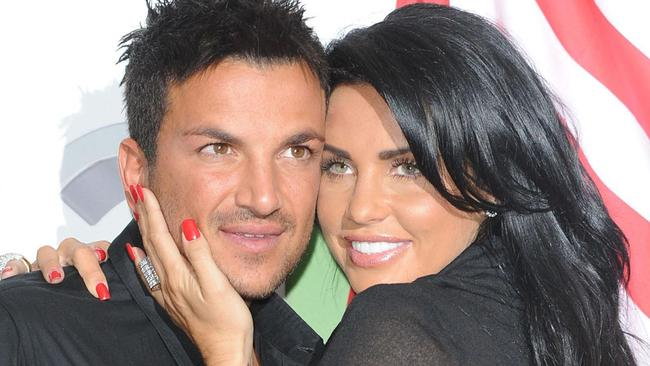 Price split with Aussie ex-pop star Peter Andre in 2009. Picture: AP Photo