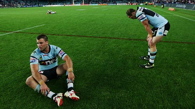 Wade Graham after Cronulla bowed out of the 2013 finals. Picture: Brett Costello