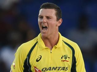 Australian bowler Josh Hazlewood celebrates after dismissing South African cricketer Quinton de Kock during their Tri-nation series One Day International match at the Warner Park stadium in Basseterre, Saint Kitts, on June 11, 2016. Australia have scored 288 runs, at the end of their innings. / AFP PHOTO / Jewel SAMAD