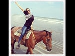 "Australian model Miranda Kerr, ""Horsing around! "" Picture: Instagram"
