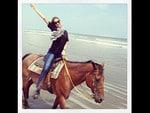 "Australian model Miranda Kerr, ""Horsing around! "" Picture: Instagram"