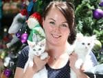 Ginger Ninja Rescue founder Kerri Bartsch with two kittens. Picture: Stephen Laffer