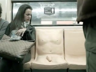 Real-time reaction of someone seeing the penis on this train seat. Photo: Youtube