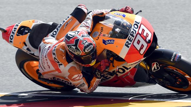 Marc Marquez during qualifying at the Sachsenring circuit in Hohenstein-Ernstthal, Germany. Picture: Jens Meyer