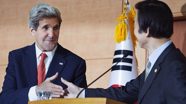 US Secretary of State John Kerry (left) and South Korea's Foreign Minister Yun Byung-se shake hands during a joint press conference at the Foreign Ministery in Seoul on Friday.