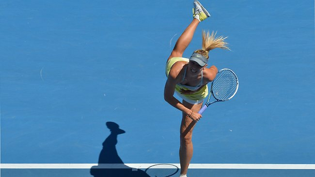 Russia's Maria Sharapova on Rod Laver Arena today.
