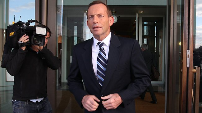 Opposition Leader Tony Abbott at Parliament House in Canberra. Picture: Kym Smith