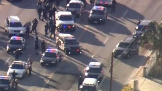 Police at the scene of the San Bernardino attacks.