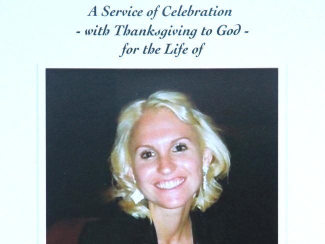 A service sheet from Alana Goldsmith's funeral