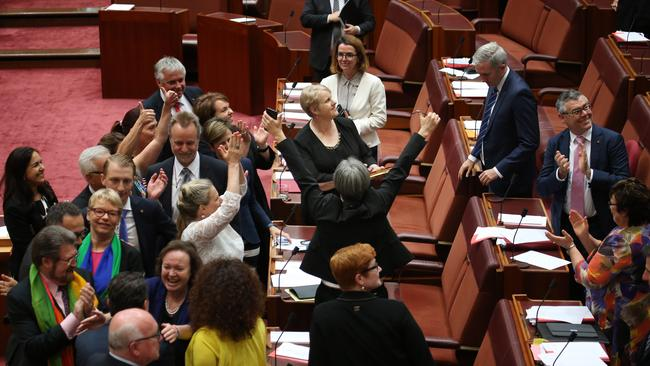 Emotions spill over in the Senate as the same-sex marriage bill passes. Picture Gary Ramage