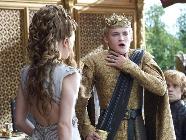 On top ... Natalie Dormer, left, Jack Gleeson, Peter Dinklage, right in a scene from Game of Thrones, which has scored the most Emmy nominations.