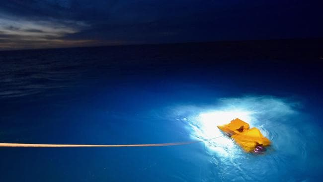 The US Navy research vessel R/V Atlantis deploying a cable-controlled Undersea Recovery Vehicle (CURE-21). A similar device will be used in the hunt for the submarine. Picture: USN