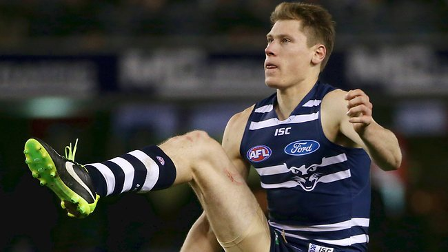 Will former steeplechaser have to carry the ruck for Geelong against in-form big man Matthew Lobbe? Picture: Colleen Petch