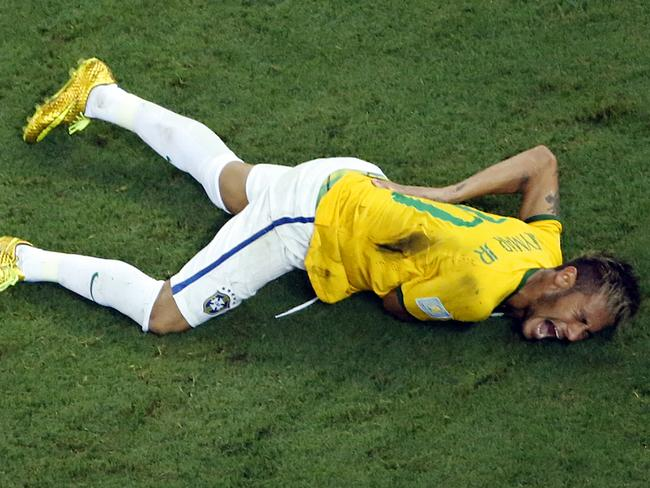 Brazil's Neymar grimaces in pain during the World Cup quarter-final against Colombia.