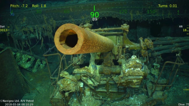 An anti-aircraft gun and its mechanism aboard USS Lexington stands at alert at the bottom of the Coral Sea. Picture: