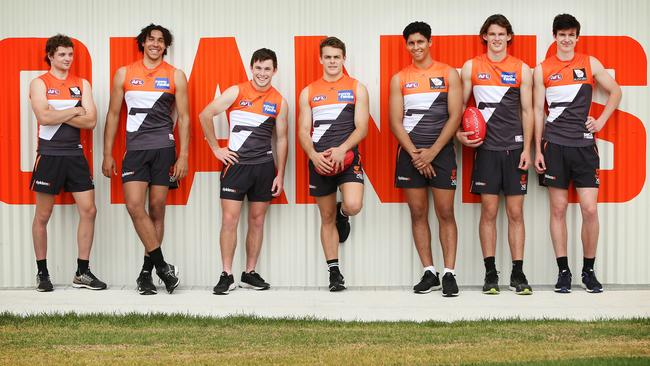 New Giants (from left) Dylan Buckley, Aiden Bonar, Brent Daniels, Zac Langdon, Nick Shipley, Jack Buckley and Sam Taylor. Picture: Richard Dobson