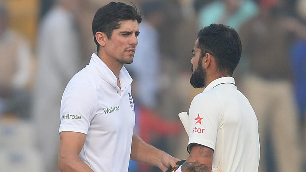 Virat Kohli and England captain Alastair Cook shake hands after the third Test.