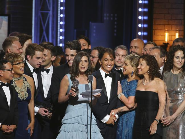 "Stacey Mindich and the cast and crew of ""Dear Evan Hansen"" accept the award for best musical at the 71st annual Tony Awards. Picture: AP"