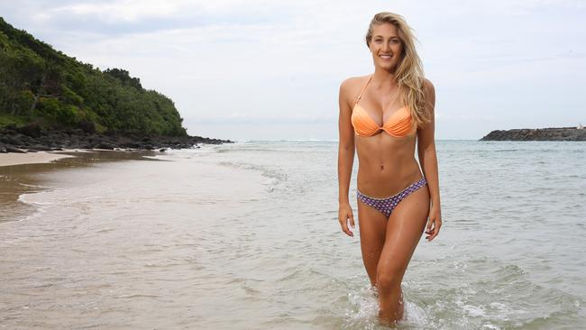 Sarah Friend, who was a body double for the new Blake Lively movie The Shallows which was filmed on the Gold Coast, during a portrait shoot at Tallebudgera, ...