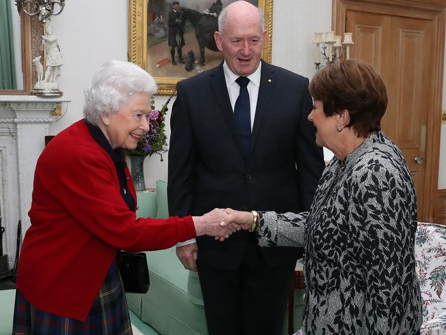Governor-General Sir Peter Cosgrove with Lady Cosgrove as they meet Queen Elizabeth II during a private audience in the Drawing Room at Balmoral Castle. Picture: Getty