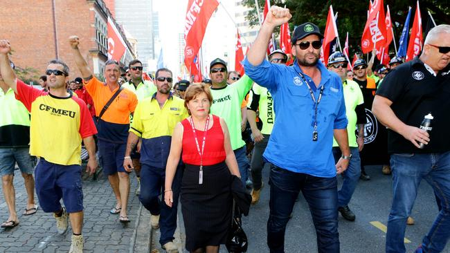 Labor MP Jo-Ann Miller marches with CFMEU members in May. Picture: Darren England