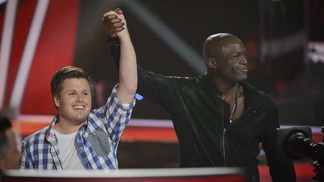 The Voice Australia contestant Alex Gibson celebrates with coach Seal after joining Team Seal. Picture: Channel Nine
