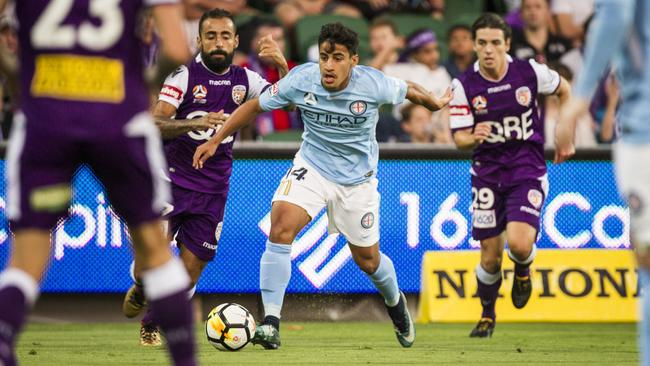 Melbourne City's Daniel Arzani in action against Perth Glory earlier this week. Picture: AAP