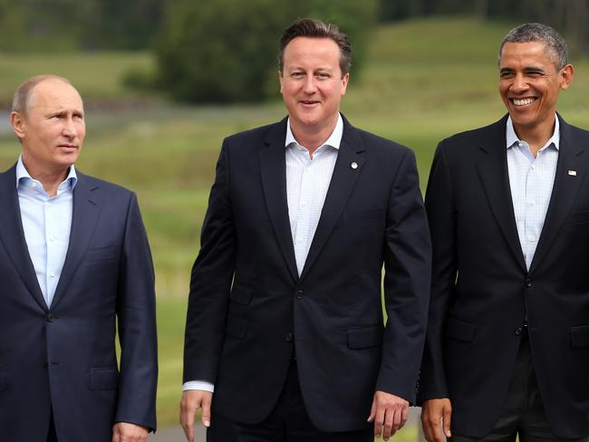 International relations ... Barack Obama appears fond of British leader David Cameron, but seems to have a frosty relationship with Russia's Vladimir Putin. Picture: Getty Images