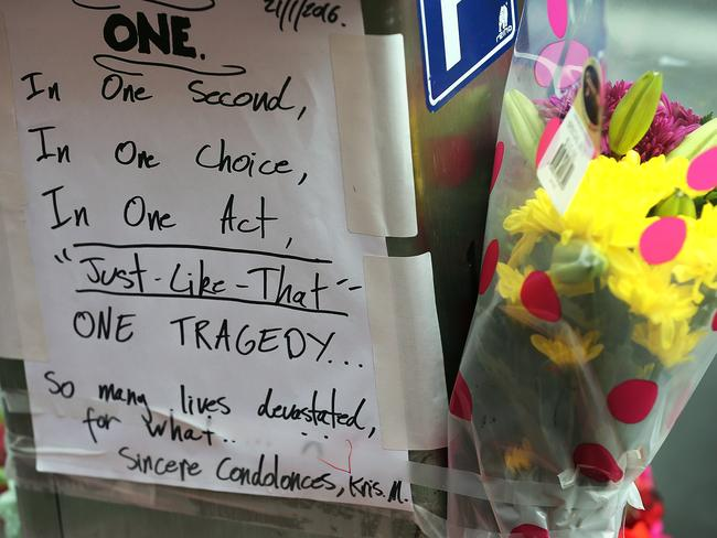 A note left at the memorial site in Davey St. Picture: SAM ROSEWARNE