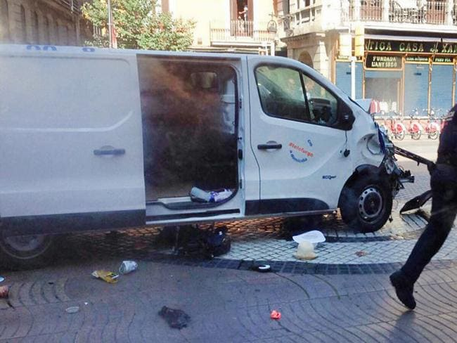 Twitter image of the white van used in the terror attack at Las Ramblas in Barcelona.