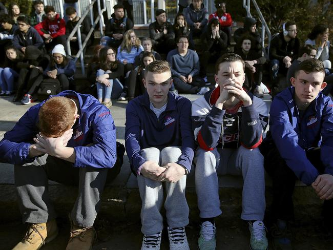 Students across the US walked out of their classrooms to push for tougher gun laws and support the Florida survivors. Picture: Craig F. Walker/The Boston Globe via AP