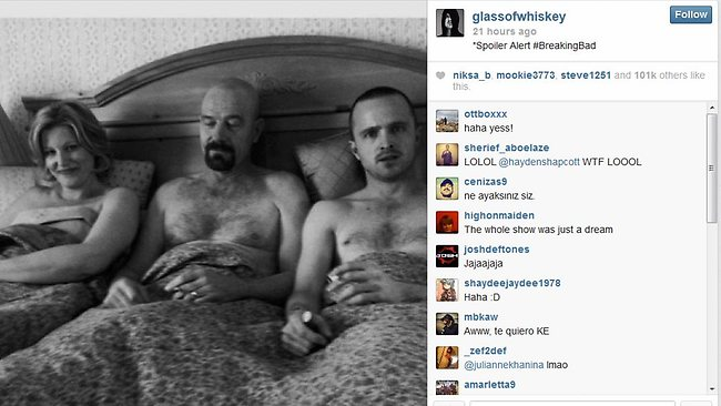 Aaron Paul's confusing clue about the conclusion of the Breaking Bad, which ends on September 29. Picture: Instagram