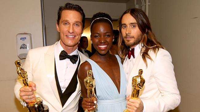 Feel the love ... Jared Leto with his fellow Oscar winners Matthew McConaughey and Lupita Nyong'o.