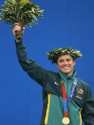 Glory days ... Chantelle Newbery after receiving her gold medal for the women's diving 10 metre platform event at the Athens 2004 Olympic Games.
