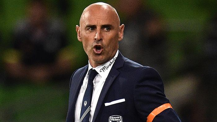 Melbourne Victory coach Kevin Muscat is seen during the round 9 A-League match between Melbourne Victory and Perth Glory at AAMI Stadium in Melbourne, Friday, Dec. 2, 2016. (AAP Image/Julian Smith) NO ARCHIVING, EDITORIAL ONLY