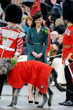 <p>The Duchess of Cambridge in an emerald green wrap-around dress at the St Patrick's Day Parade. Photo: Paul Vicente, AFP</p>