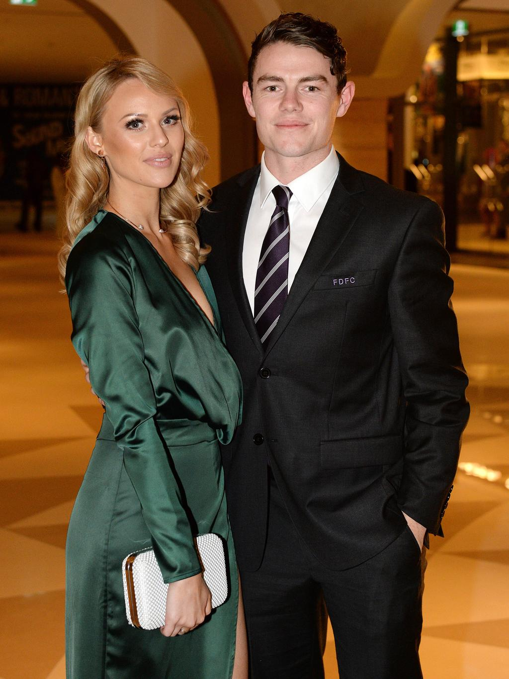 Lachie Neale and Julie Clark at the Fremantle Football Club's 2016 Doig Medal Presentation Dinner at the Grand Ballroom at Crown Perth. Picture: Daniel Wilkins.