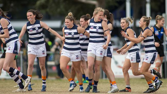 Geelong's VFLW team in action. Picture: Arj Giese