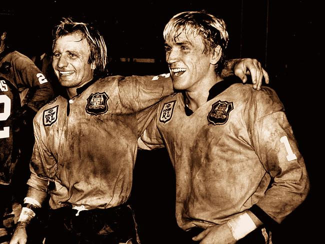 Kieren's famous dad Garry Jack pictured with Peter Sterling celebrating a NSW victory over Queensland in 1985.